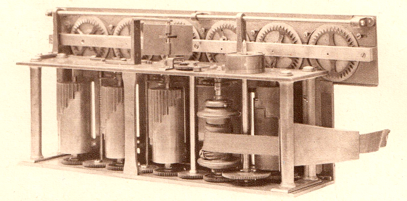 Drawing of the mechanism of the 1822 Arithmometer