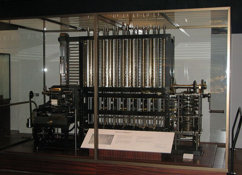 A photo of the Difference Engine constructed by the Science Museum based on the plans for Charles Babbage's Difference Engine No. 2. Photo by geni